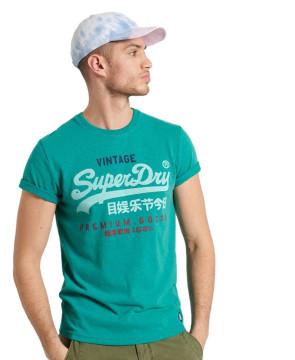 Ανδρική Κοντομάνικη Μπλούζα SUPERDRY - Vintage Logo Tri T-Shirt - Ocean Green Marl SUPERDRY-M1011003A-5EV Ocean Green Marl