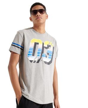 Ανδρική Κοντομάνικη Μπλούζα SUPERDRY - Sport Grit Numbers T-Shirts - Grey Marl superdry-M1010960B-07Q